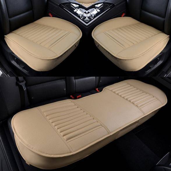 DailySale 3-Piece: Breathable Bamboo PU Leather Car Seat Cover