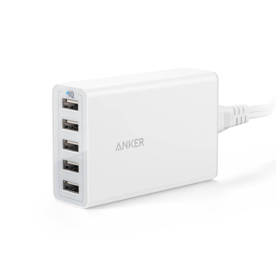 Anker PowerPort 5 40W/8A 5-Port USB Charger for Apple iPhone, iPad, Samsung Galaxy, and more