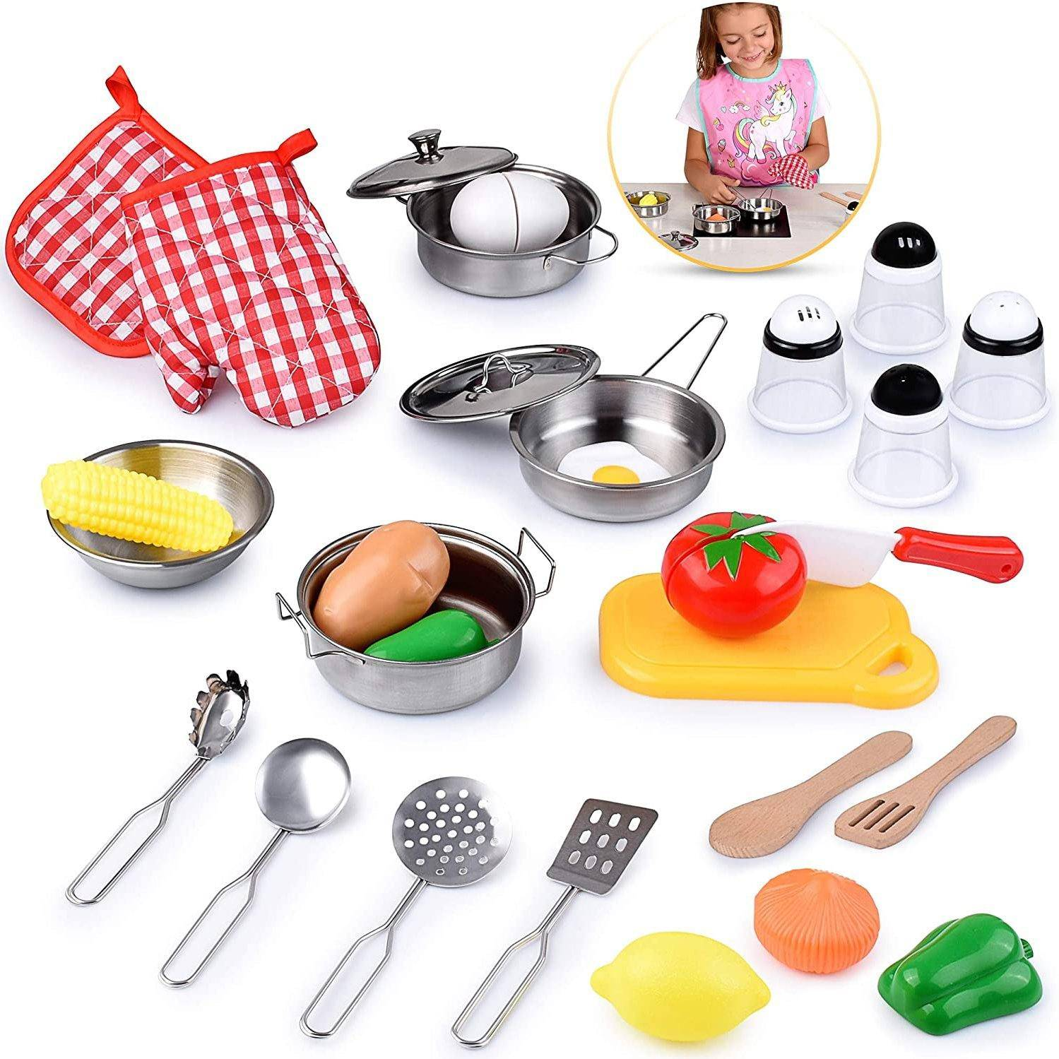 Kids Kitchen Toy Playset, Educational Kitchen Set Accessories For Girls And Boys