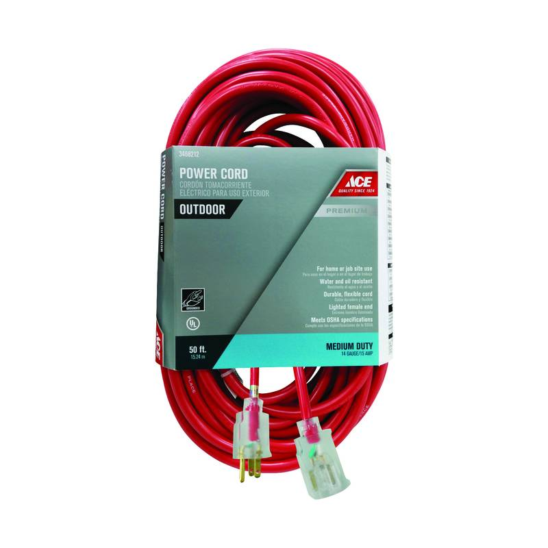 Ace Outdoor 50 ft. L Red Extension Cord 14/3 SJTOW