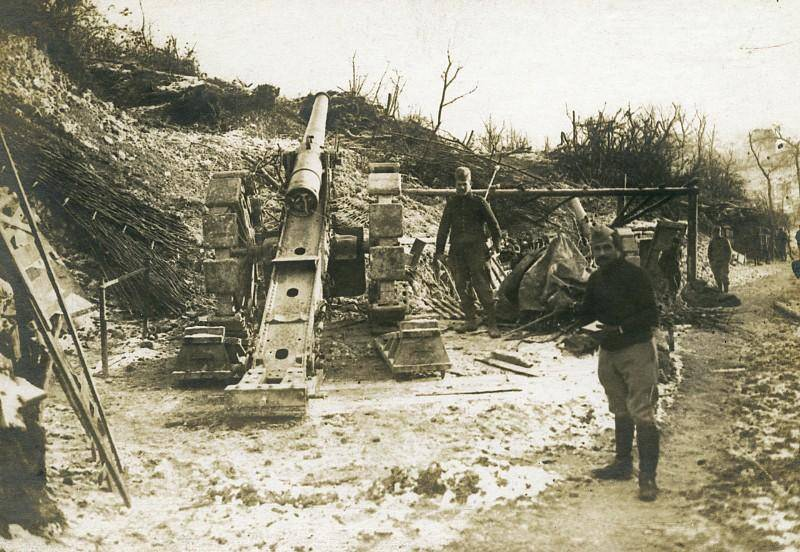 Canon France Trench 120 Gun Canon WWI First World War Army Old Photo SPA 1918 SERVICE PHOTOGRAPHIQUE