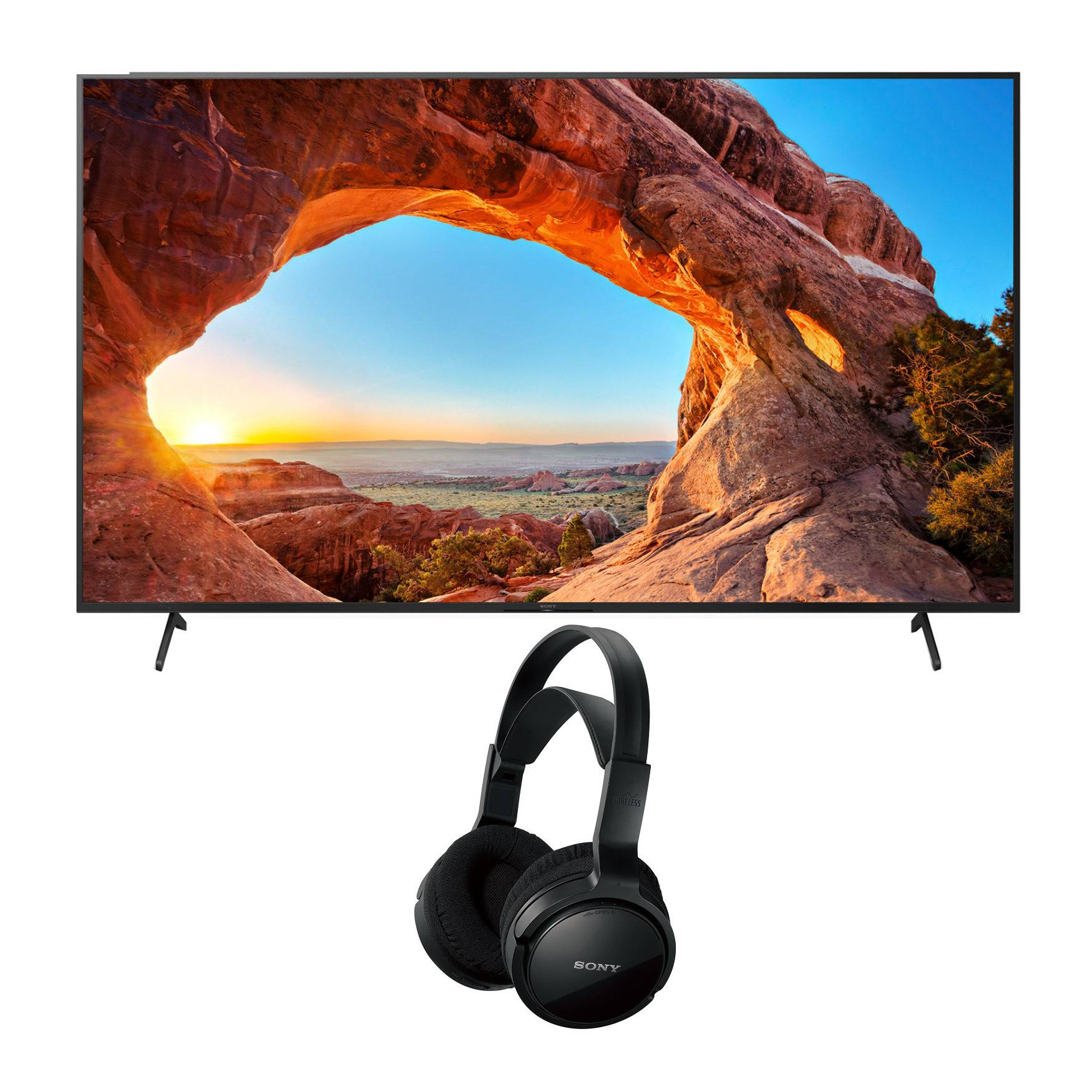 Sony X85J 85 Inch TV 4K Ultra HD LED Smart TV with HDR (2021) with Home Theater Headphones in Black