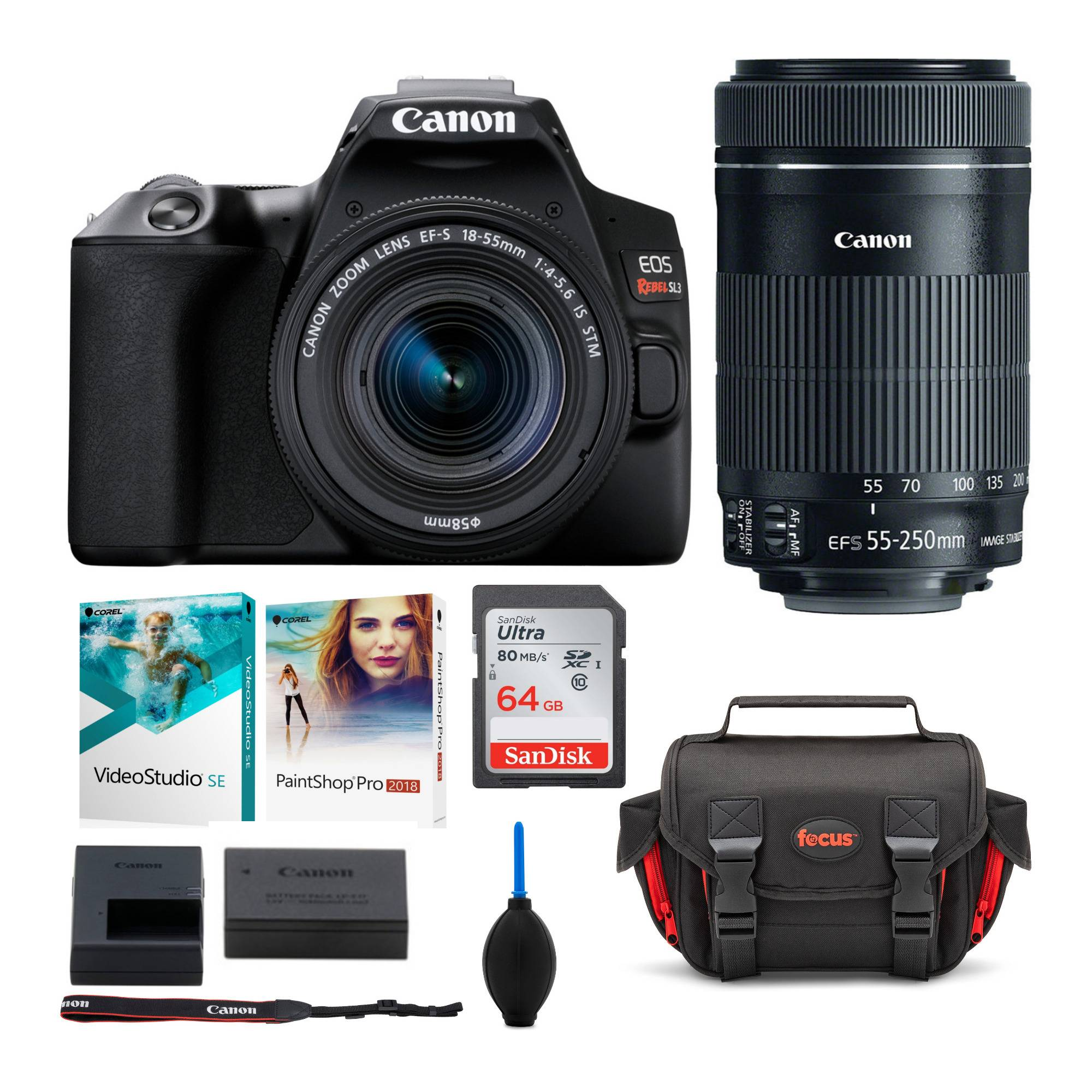 Canon EOS Rebel SL3 DSLR Camera with 18-55mm and 55-250mm Lenses Deluxe Bundle in Black