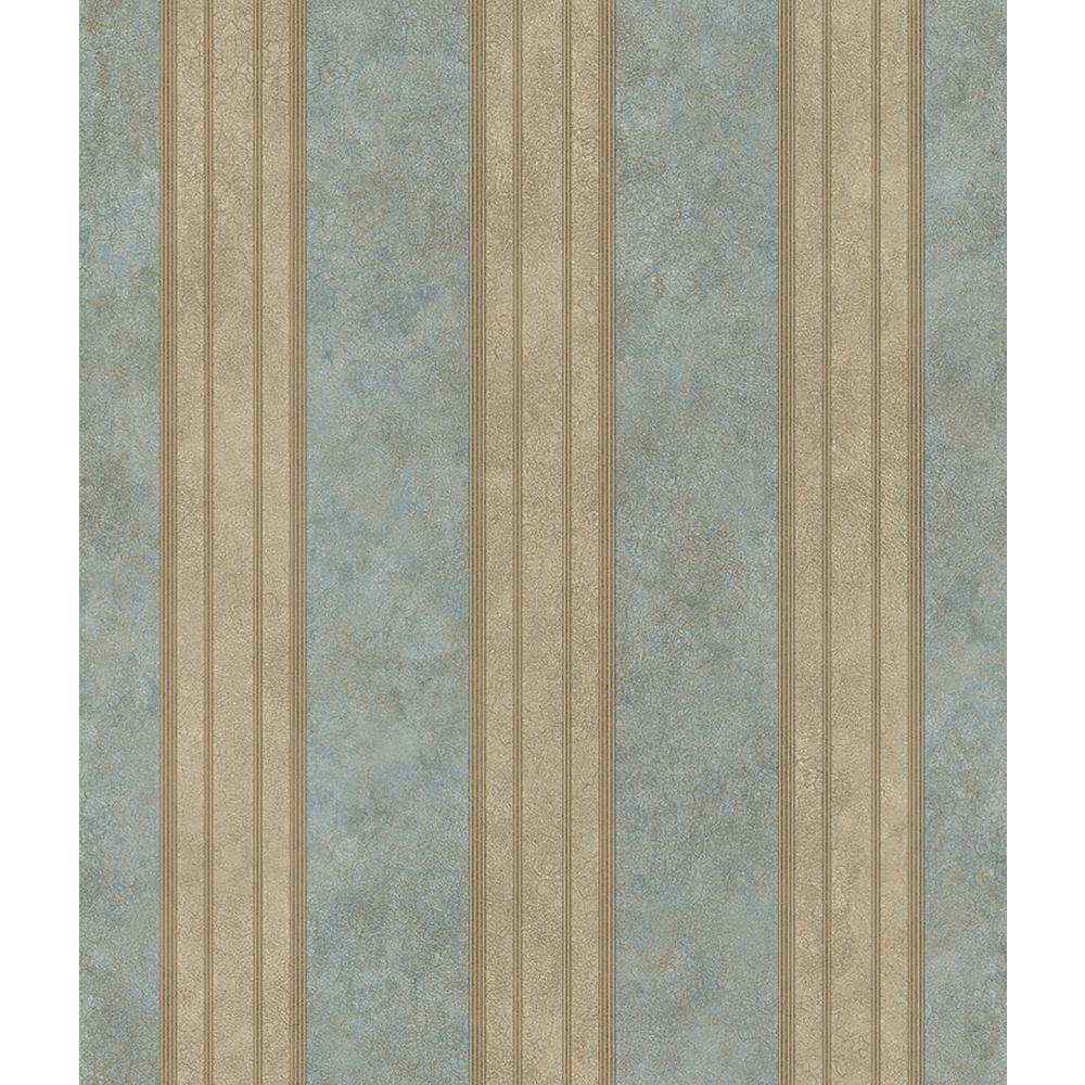 Chesapeake Sweetwater Aqua Tuscan Stripe Paper Strippable Wallpaper (Covers 56.4 sq. ft.), Blue