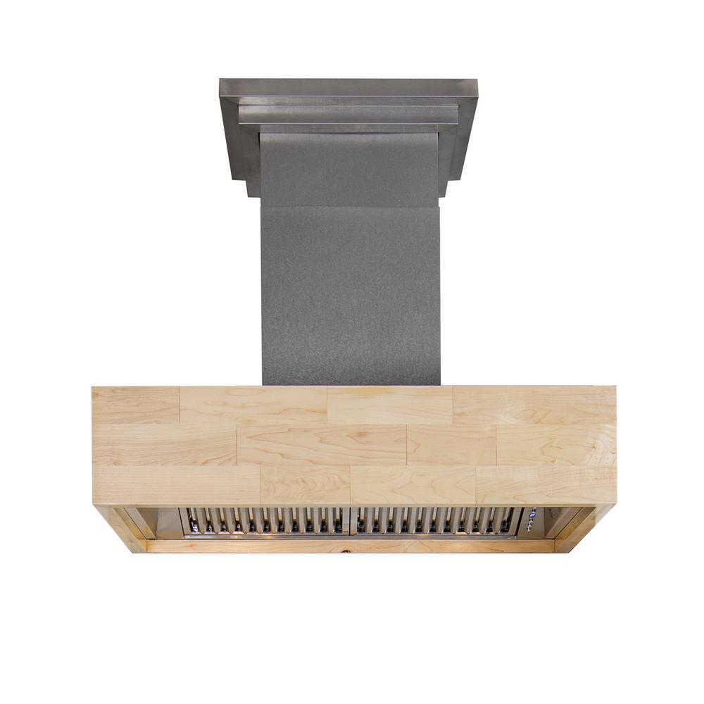 ZLINE Kitchen and Bath ZLINE 36 in. Designer Series Wooden Wall Mount Range Hood in Butcher Block (6