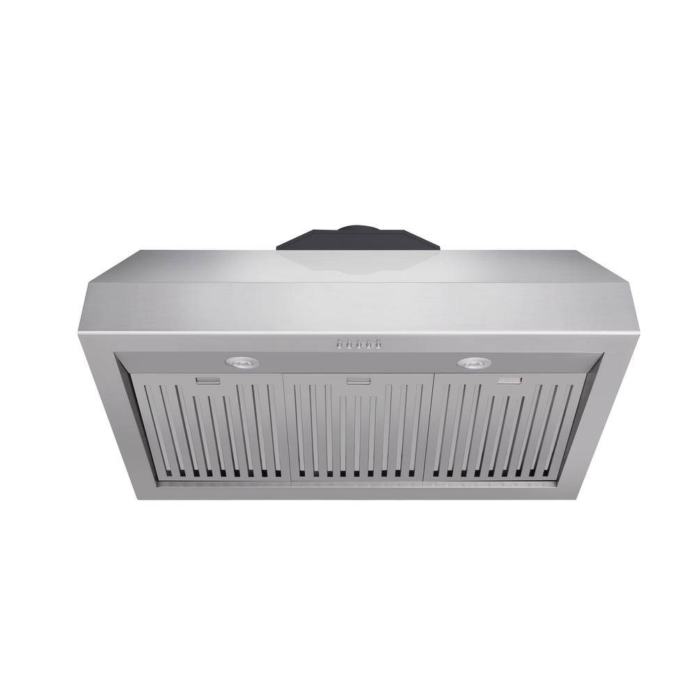 Kitchen 36 in. Tall Undercabinet Range Hood with Light in Stainless Steel, Silver