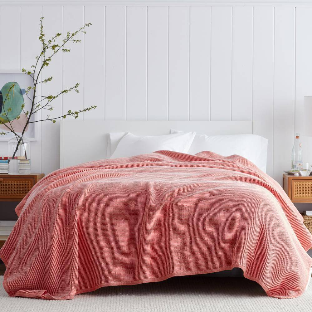 The Company Store Ellington Apple Red Cotton Queen Woven Blanket