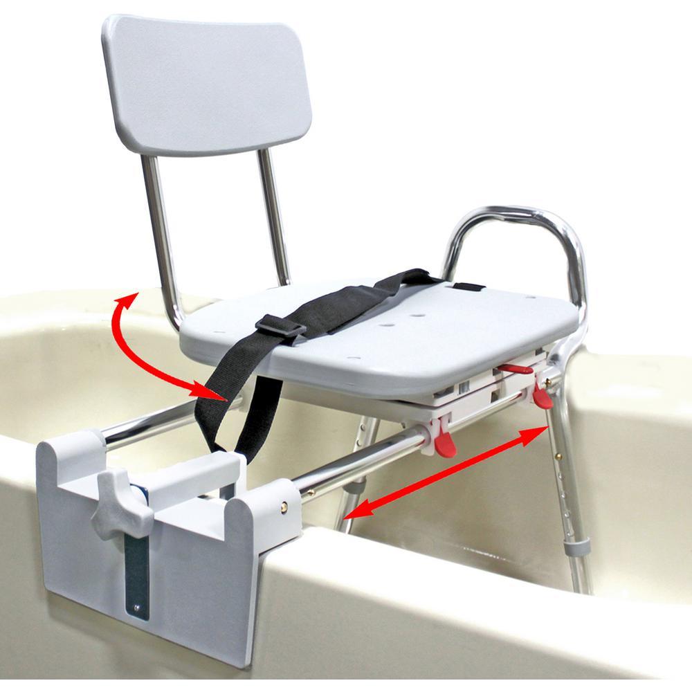 Health Supplies Tub-Mount Swivel Sliding Bath Transfer Bench - 350 lb. Weight Capacity- Heavy-Duty S