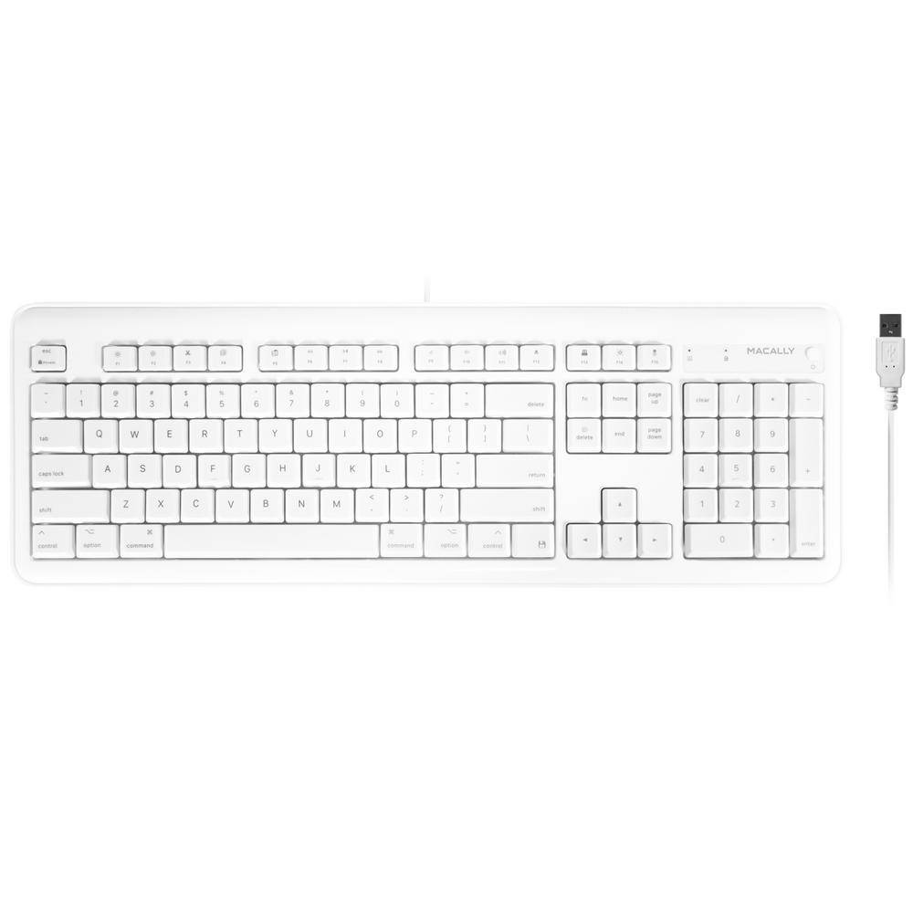 Full Size USB Wired Computer Keyboard with Built-In 2-Port USB Hub for Mac OS, Apple iMac, Mac Mini,