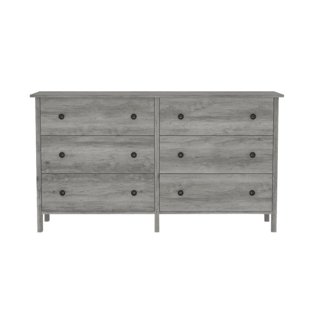Furniture of America Kerani 28.54 in. H x 50.59 in. W Vintage Gray Oak 6-Drawer Dresser