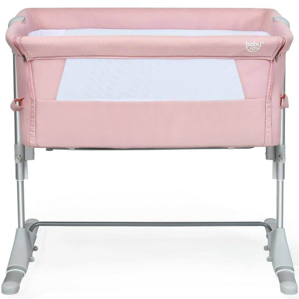 Boyel Living Pink Portable Baby Bed Side Sleeper Bassinet Crib with Carrying Bag