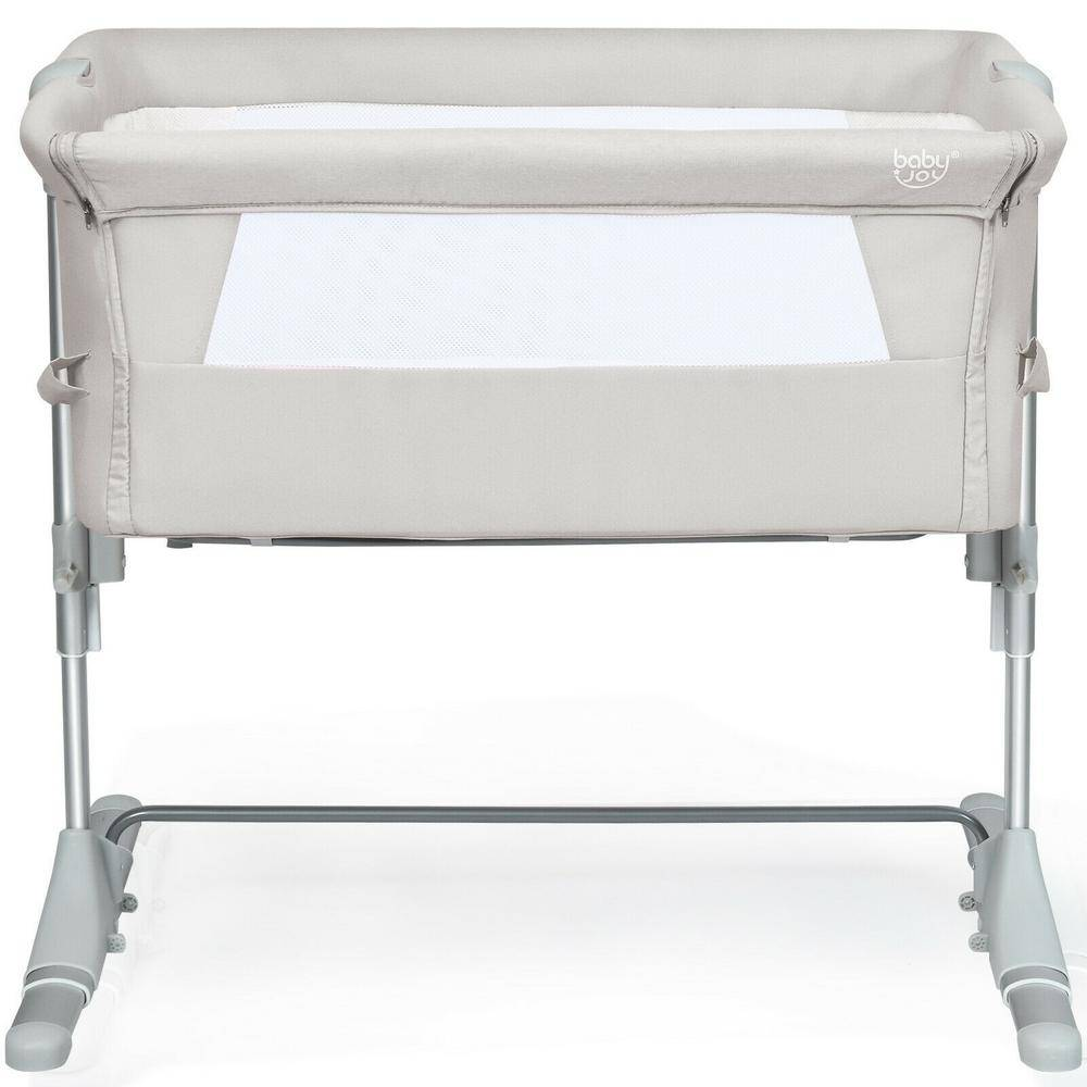Boyel Living Beige Portable Baby Bed Side Sleeper Bassinet Crib with Carrying Bag
