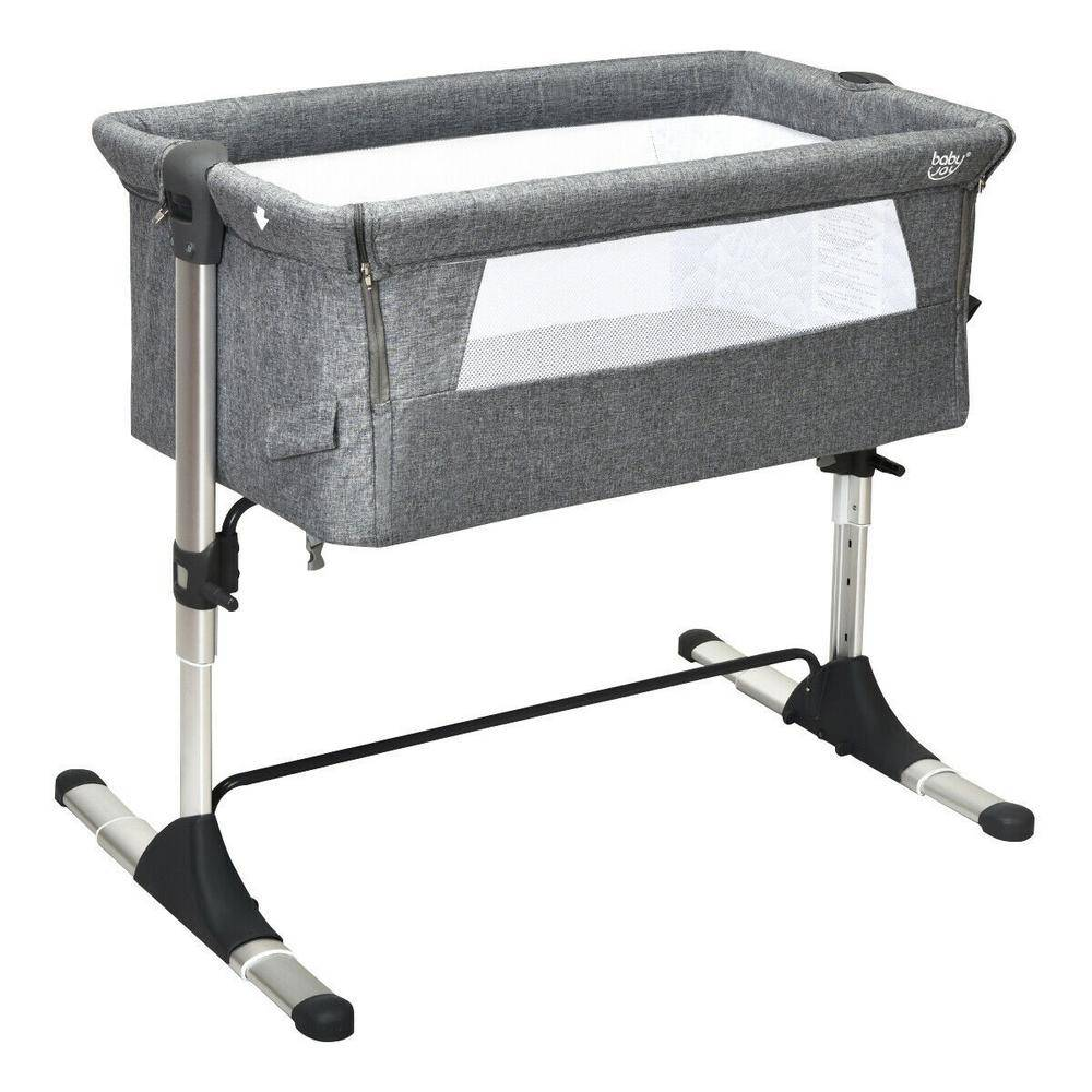 Boyel Living Gray Portable Baby Bed Side Sleeper Bassinet Crib with Carrying Bag