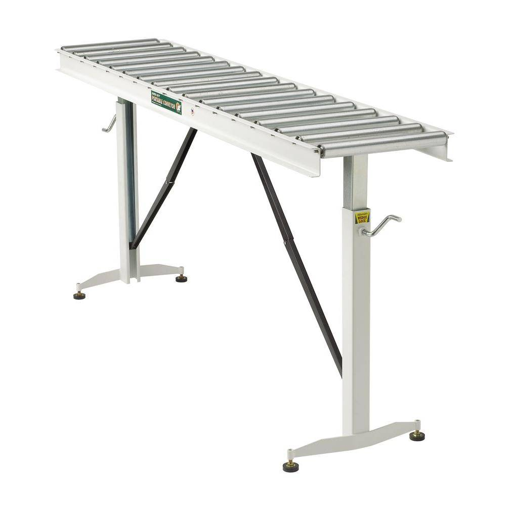 Powder Coated Steel 26.5 in. to 43.5 in. H, 15 in. W Roller Table Adjustable Conveyor with 17 Roller
