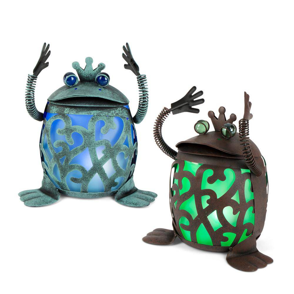 GARDEN MEADOW 11.7 in. H Solar Lighted Roly Poly Frog Garden Statues (Set of 2)