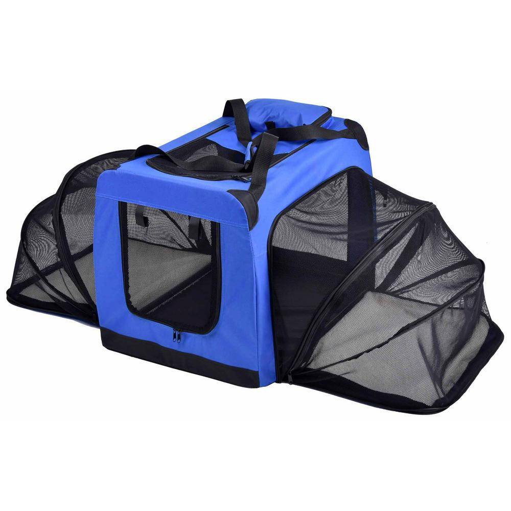 PET LIFE Hounda Accordion Metal Framed Collapsible Expandable Pet Dog Crate - X-Small in Blue