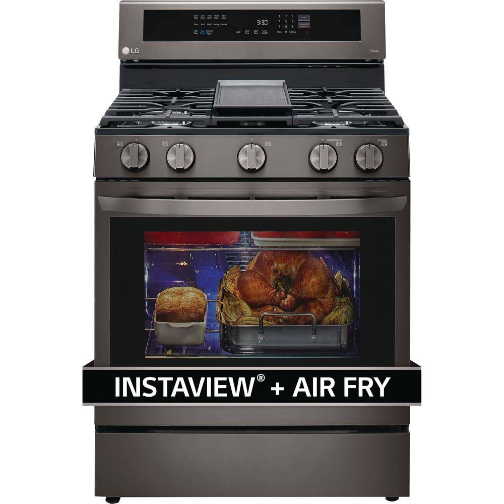 LG Electronics 5.8 cu. ft. Smart True Convection InstaView Gas Range Single Oven with Air Fry in Pri