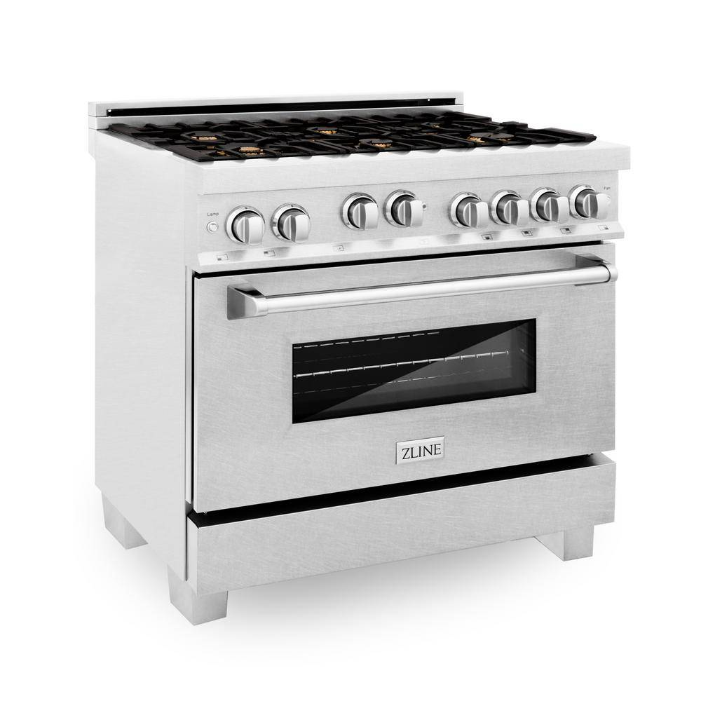 ZLINE Kitchen and Bath 36 in. 4.6 cu. ft. Gas Range with Stove and Gas Oven in DuraSnow Stainless St
