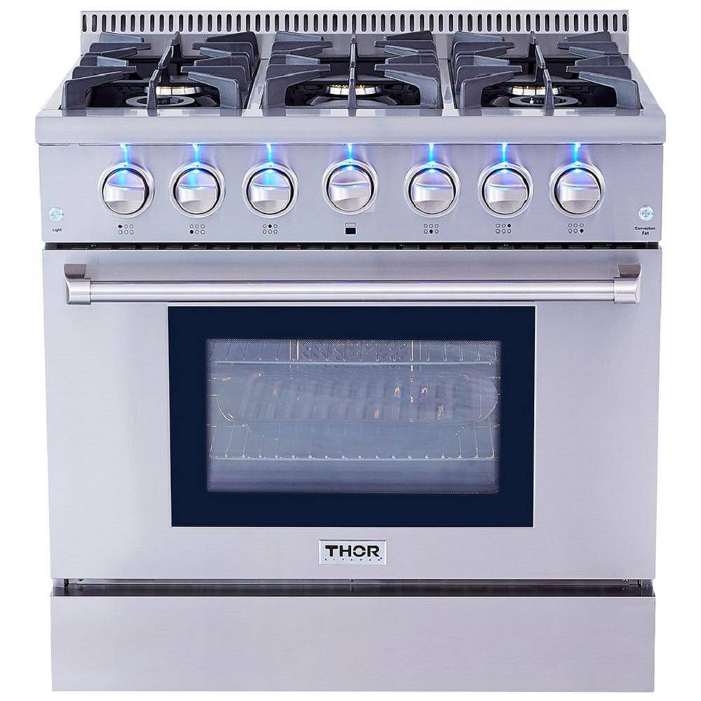 Kitchen 36 in. 5.2 cu. ft. Professional Gas Range in Stainless Steel, Silver