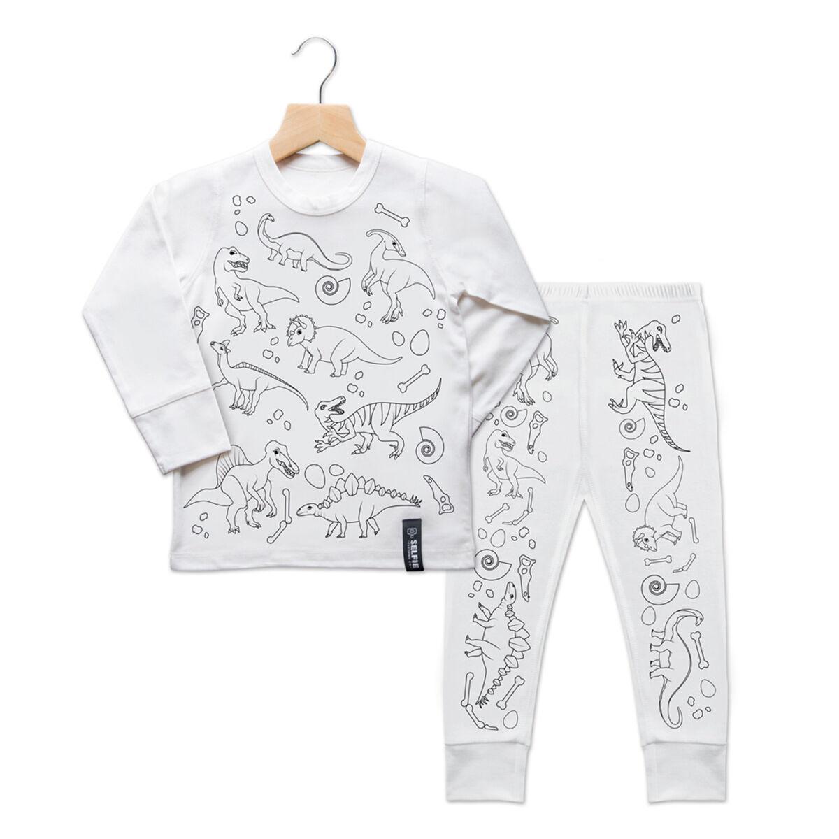 Selfie Clothing Co Toddler/Big Kid Color-In PJs - Dinosaur (Size: 3-4 y)