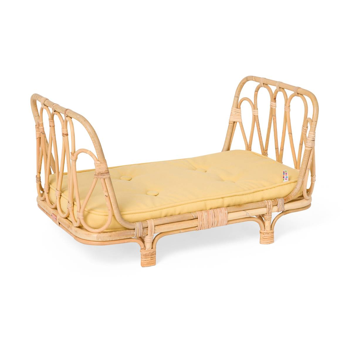 Poppie Toys Rattan Doll Daybed (Color: Yellow)