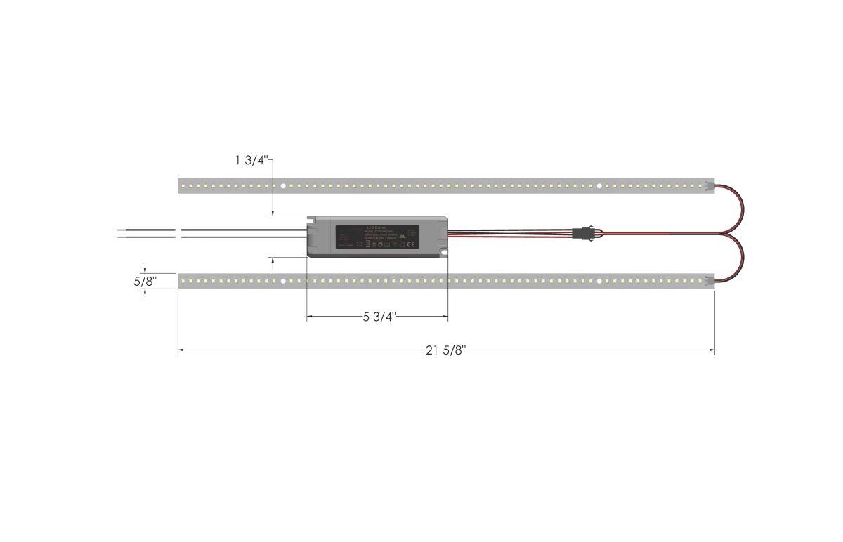 Optilumen RKS2220-50-A20 2 ft. 20W 5000K Equivalent Integrated White LED Magnetic Strip Kit Retrofit