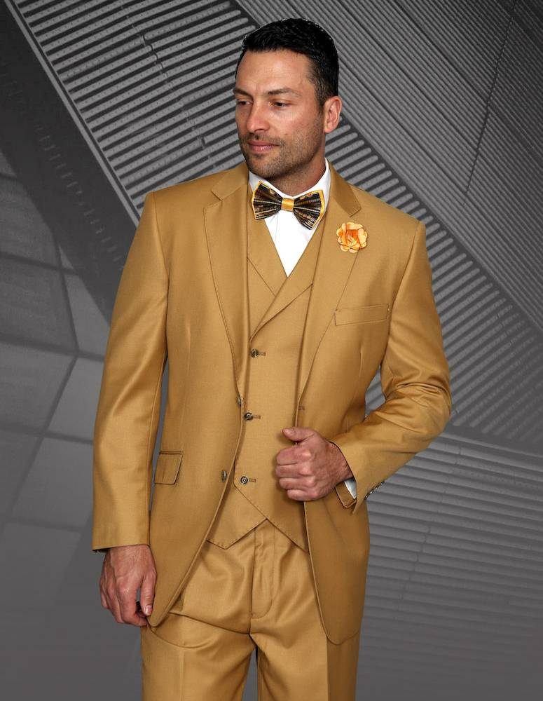 Statement Clothing MESSINA-CAMEL-50L 3 Piece Messina Pleated Pants with Double Breasted Vest, Camel
