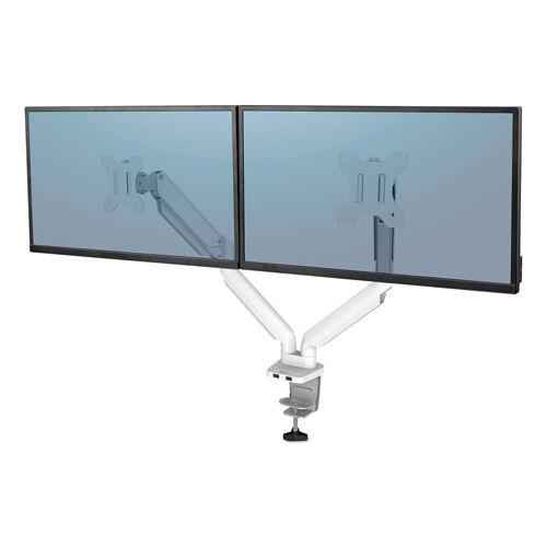 Fellowes 8056301 Dual Monitor Arm for 27 in. Monitors - 360 deg Rotation - 45 deg Tilt - White
