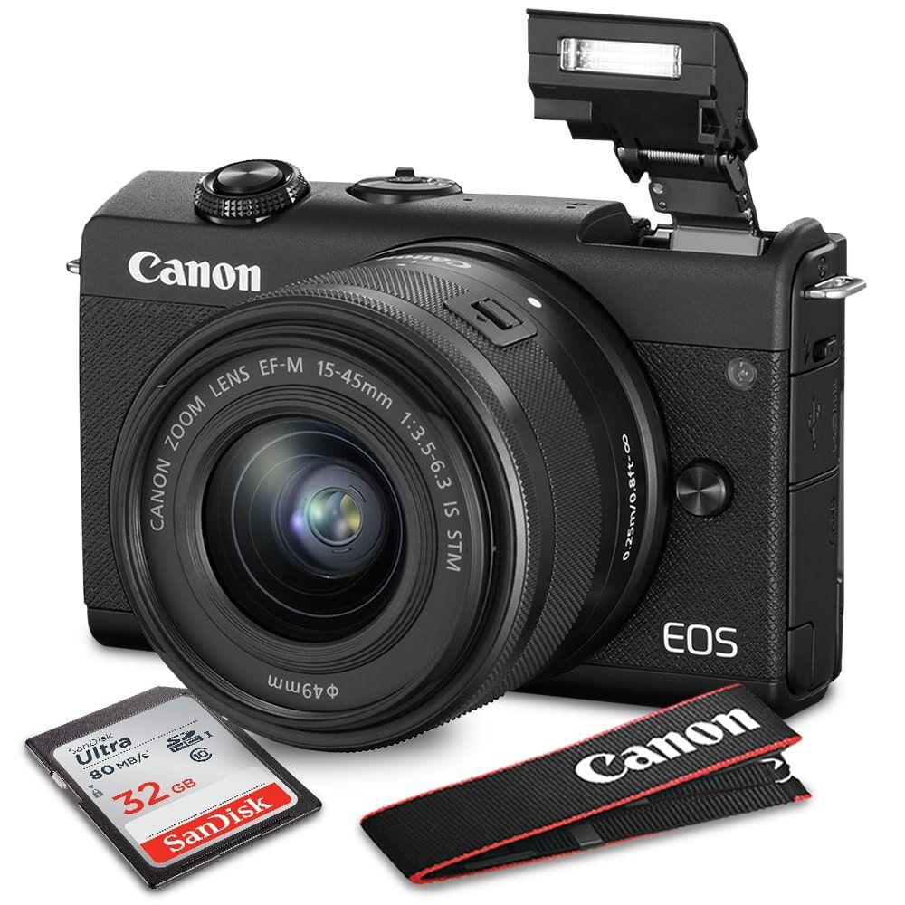 Canon -3699C009-M200-BLK-B-KIT3960-NFBA EOS M200 Mirrorless Digital Camera with Lens, Black - 15-45