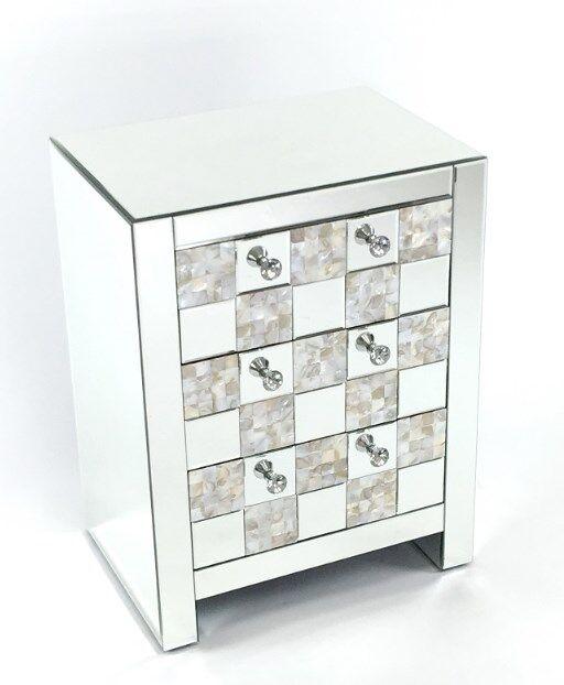 Wayborn Home Furnishings MC021 26 x 20 x 14 in. Crystal Mirror Chest