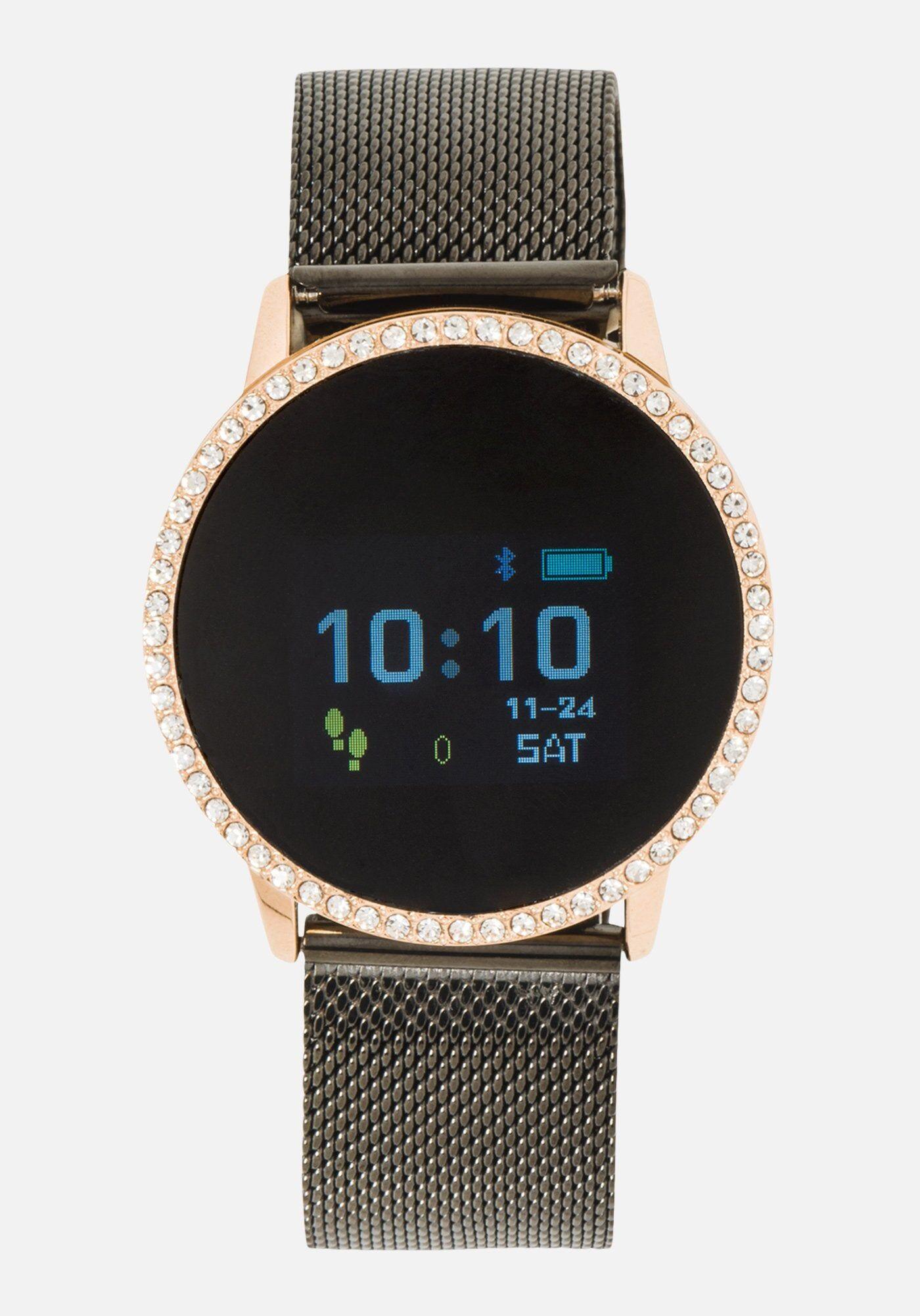 Bebe Women's Mesh Bracelet Smart Watch in SILVER Metal