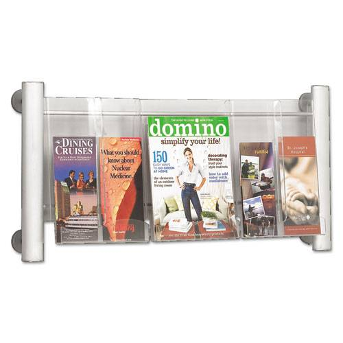 SAFCO 4133SL Luxe Magazine Rack, 3 Compartments, 31-3/4w x 5d x 15-1/4h, Silver/Clear