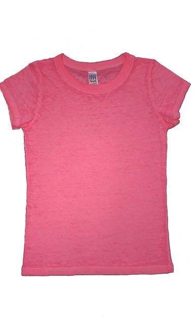 Royal Apparel Pack 12 Royal Apparel 22560bo - Kids Burnout Wash Short Sleeve Girls Tee Neon Pink - 6