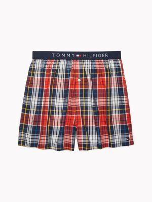 Tommy Hilfiger Men's Fashion Woven Boxer Fiery Red/ Multi Plaid - L