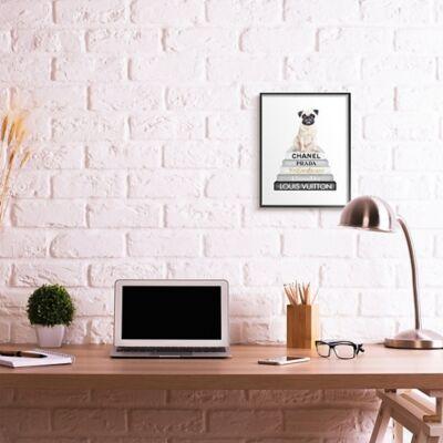 Ashley Furniture Glam Pug Sitting On Women's Fashion Icon Books 16x20 Black Frame Wall Art, White