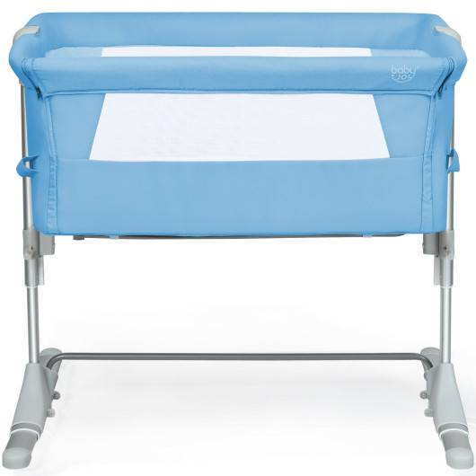 Costway Travel Portable Baby Bed Side Sleeper Bassinet Crib with Carrying Bag-Blue