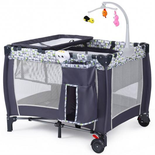 Foldable Travel Baby Crib Playpen Infant Bassinet Bed w/ Carry Bag-Gray