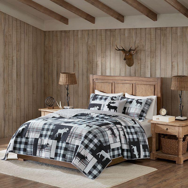 Woolrich Sweetwater Oversized 4-piece Quilt Set, Black, Full/Queen