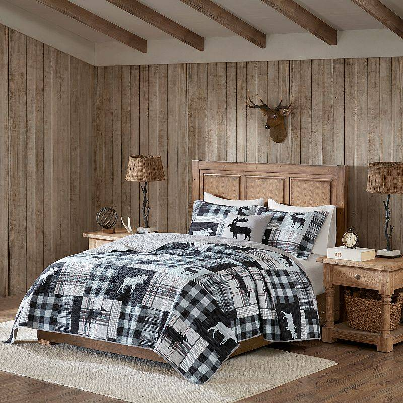 Woolrich Sweetwater Oversized 4-piece Quilt Set, Black, King
