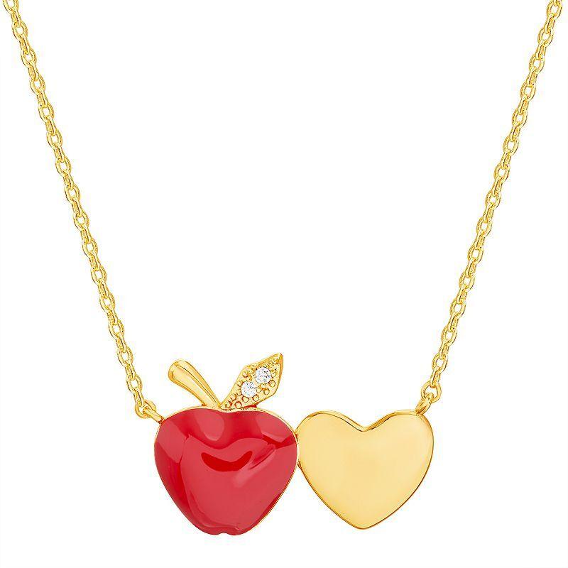 Unbranded 14k Gold Over Silver Red Enamel Apple Teacher Appreciation Necklace, Women's, Size: 18