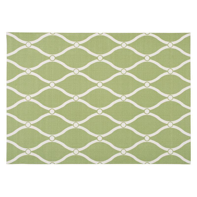 Nourison Home & Garden Swirl Trellis Indoor Outdoor Rug, Green, 5X7.5 Ft