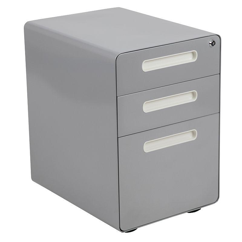 Flash Furniture 3-Drawer Filing Cabinet, Grey