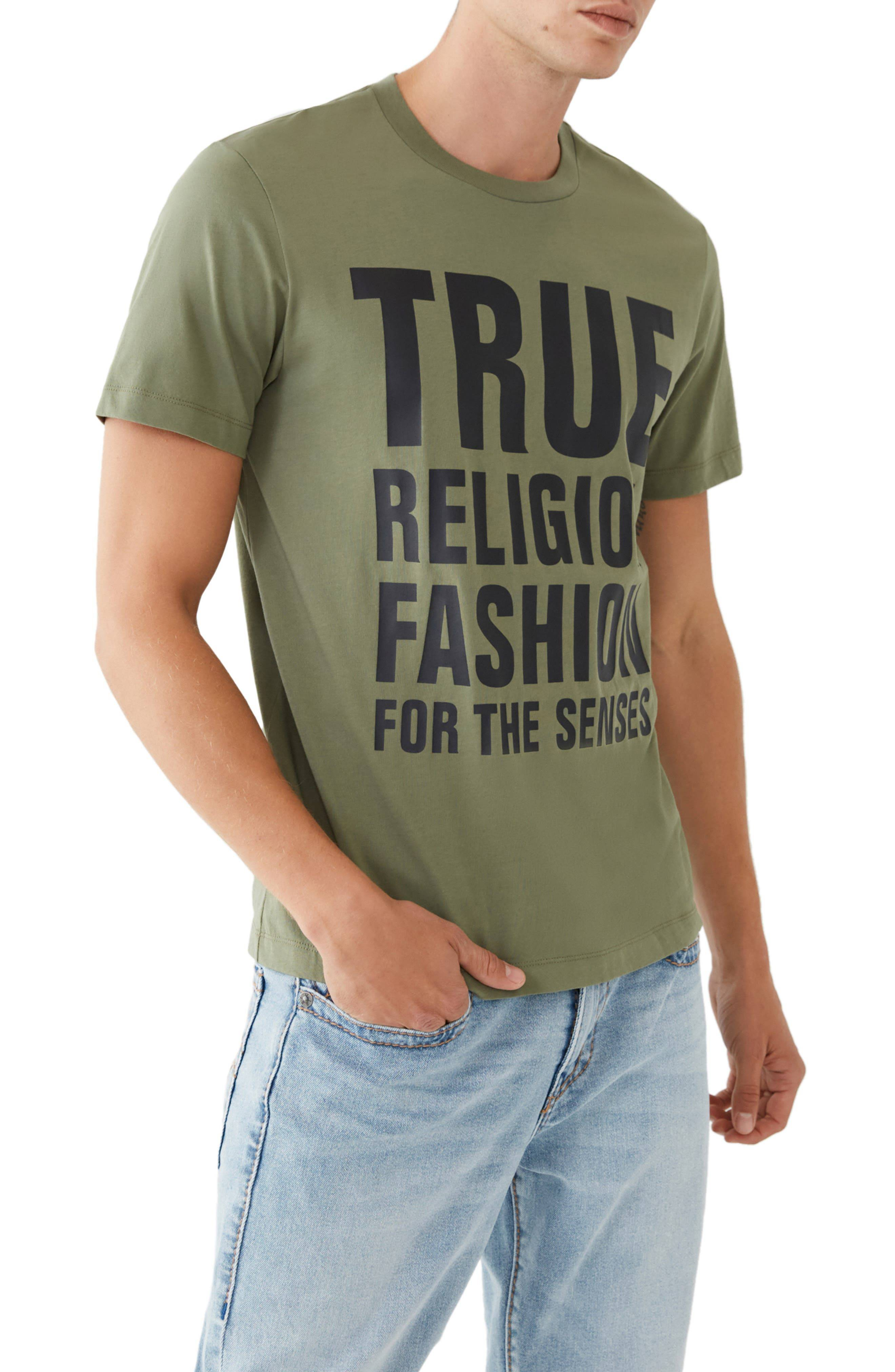 Men's True Religion Brand Jeans Fashion For The Senses Stacked Logo Graphic Tee, Size XXX-Large - Gr