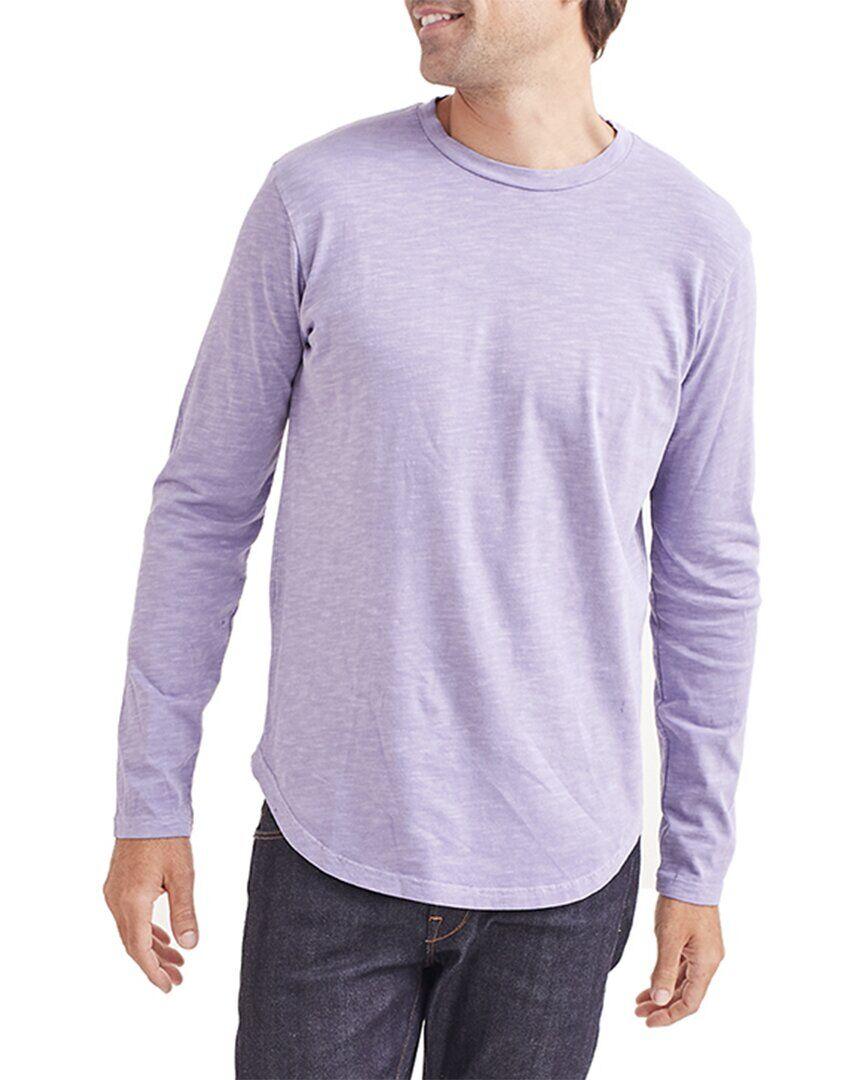 Goodlife Clothing Sun Faded Slub Scallop Crew Shirt  -Purple - Size: Small