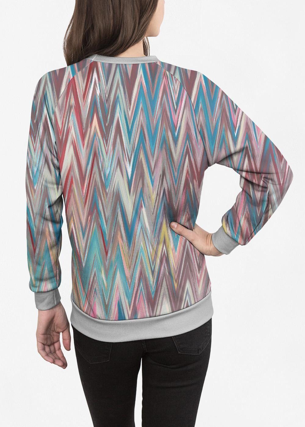 Women's Crewneck Sweatshirt - Fashion Waves in Blue/Pink by VIDA Original Artist  - Size: Grey / 1X