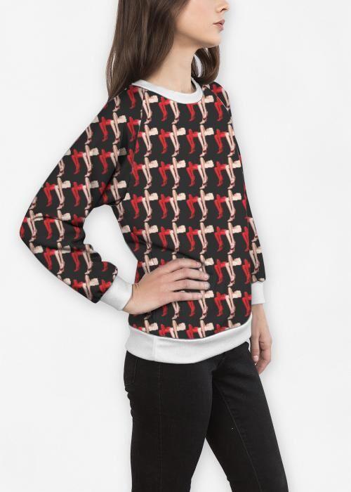 Women's Crewneck Sweatshirt - Fashion Legs in Brown/Pink/Red by VIDA Original Artist  - Size: Medium