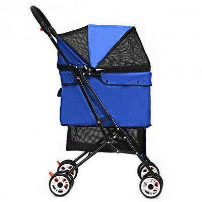Costway Pet Foldable Cage Stroller For Cat And Dog-Blue