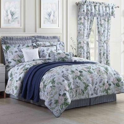 Royal Heritage Home Llc Garden Images Blue Comforter Set, King, Blue