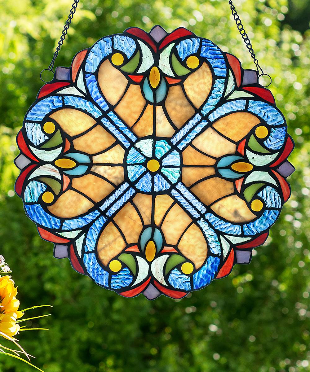 River of Goods Furnishing Accessories Multi-colored - Amber Stained Glass Window Panel