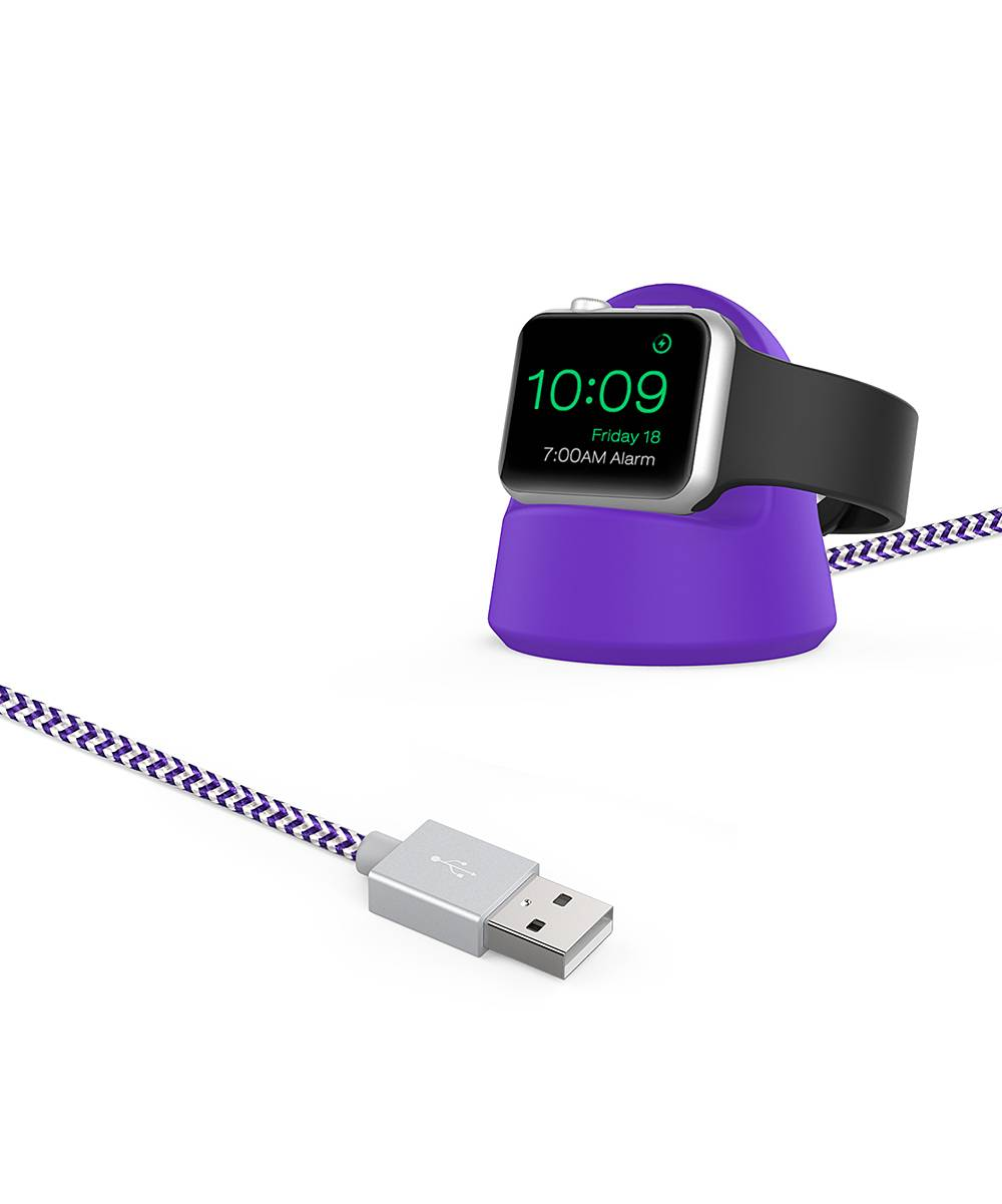 Tech Elements Apple Watch Cables Purple - Purple Braided Apple Watch Charging Cable & Stand